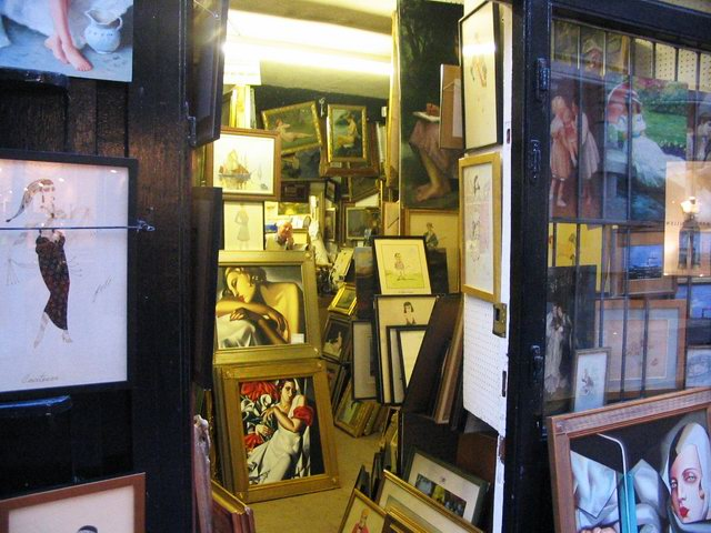 Paintings for sale in the quaint 'Lanes' district.