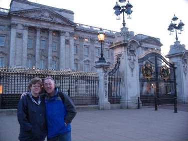 Posing outside Buckingham Palace