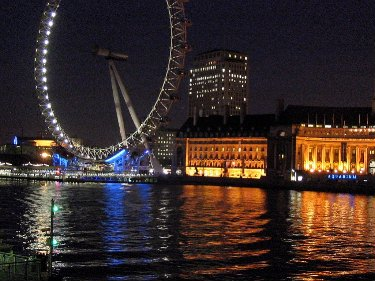 London eye at night, like a giant bicycle wheel.