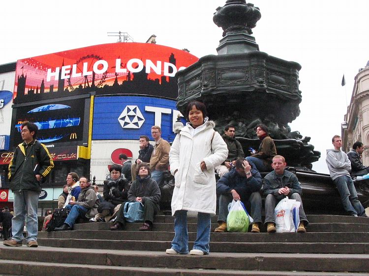Mai at the famous Picadilly Circus.