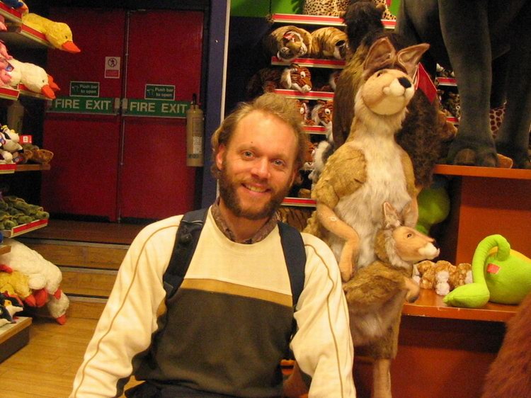 Finding a friend at Hamley's gigantic toystore.